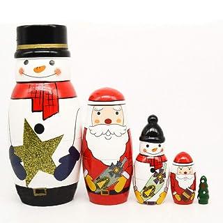 Sky God 5 Pezzi/Set di Bambole Russe Nidificazione Che Desiderano Bambole Classiche Impilabili in Legno Fatti a Mano Giocattoli Regali per Bambini di Natale