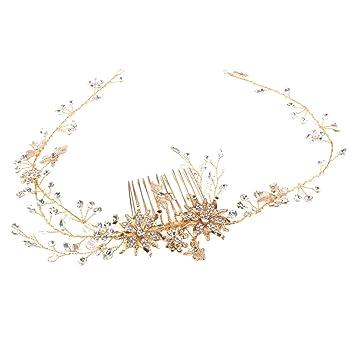 Amazon.com   Fityle Wedding Bridal Comb Flower Crown Hair Wreath Jewelry  Women Headwear Headband Twisted Wire Wedding Hair Vine Crystal Bridal  Accessories ... 6c444e87fff