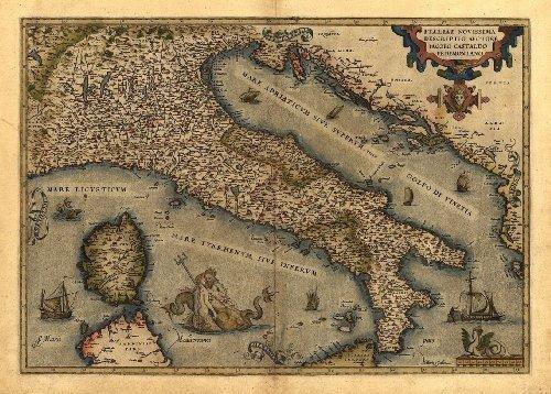 Riproduzione Mappa Antica di Italia, Italia, Corsica, Sardegna e Sicily Repubblica Italiana) by Abraham Ortelius A1 Misura 78 x 57 cm OFA Mapping