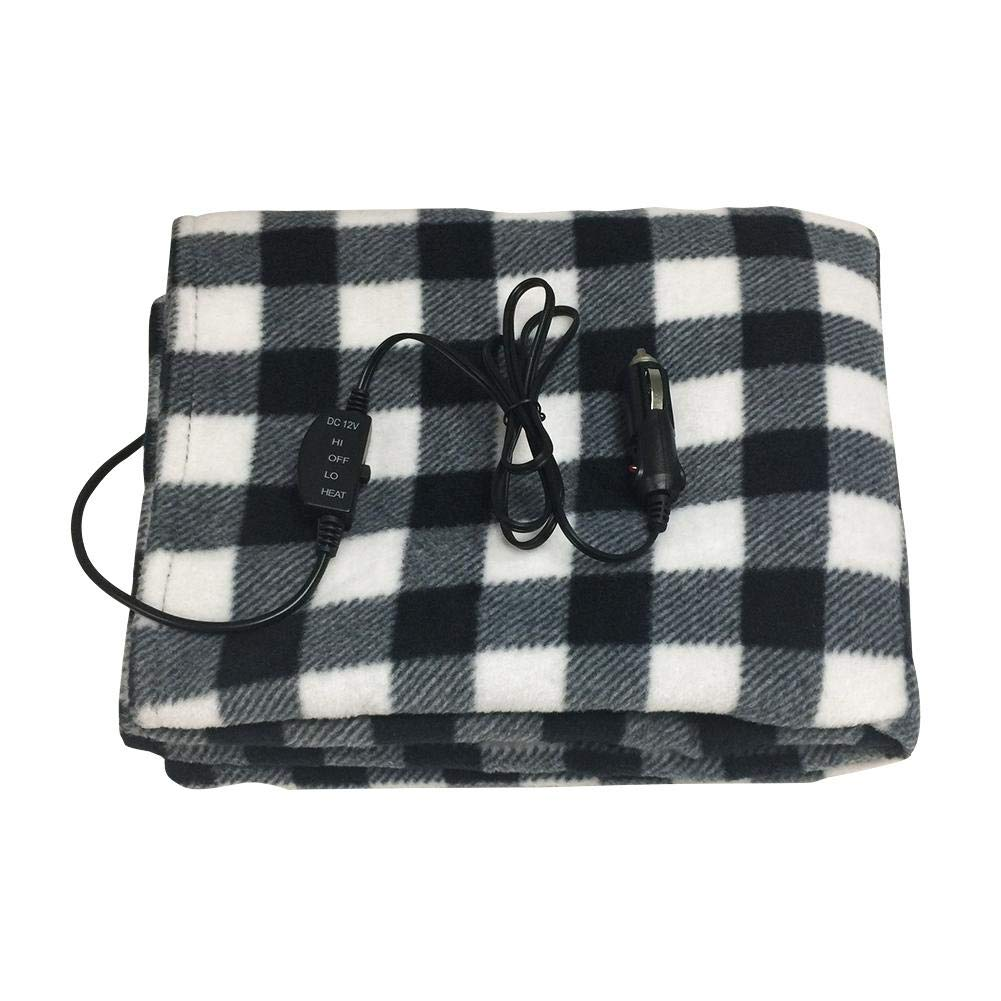 Samber Winter Car Electric Blanket Energy Saving Warm 12v Car Heating Blanket Travel Throw Heated Travel Car Blanket Lattice Camping Warm Blanket Constant Temperature Adjustable Anti-Overheat