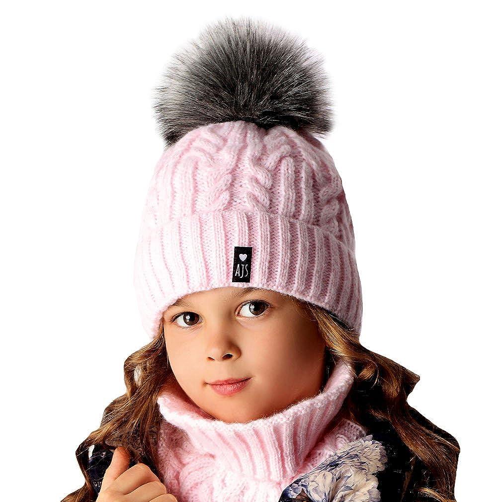 AJS Damen Mädchen Wintermütze Winter Beanie Mütze Schornsteinschal mit Wolle