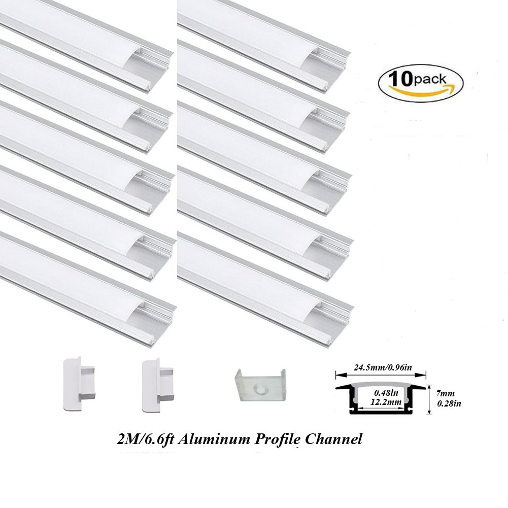Hanks 10Pack 2M/6.6ft 24.5X7mm Shallow Flush Mount Aluminum Channel Profile Extrusion for Wall and Ceiling with Milk Cover End Caps Mounting Clips (10X2M Milk)