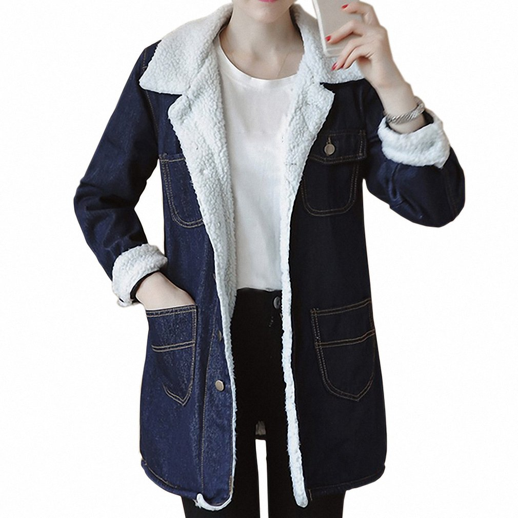 Huiwa Womens Denim Jacket Long Sleeve Slim Jeans Coat Warm ...