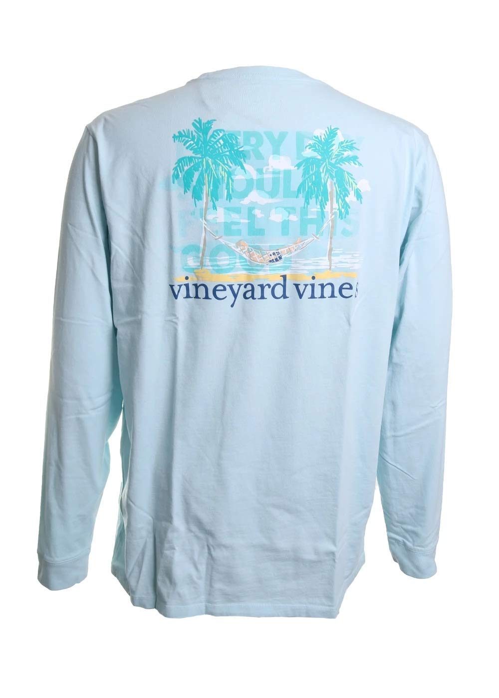 Vinyard Vines Long Sleeve Vacation Hammock Pocket Tee in Misty Blue Size XXL