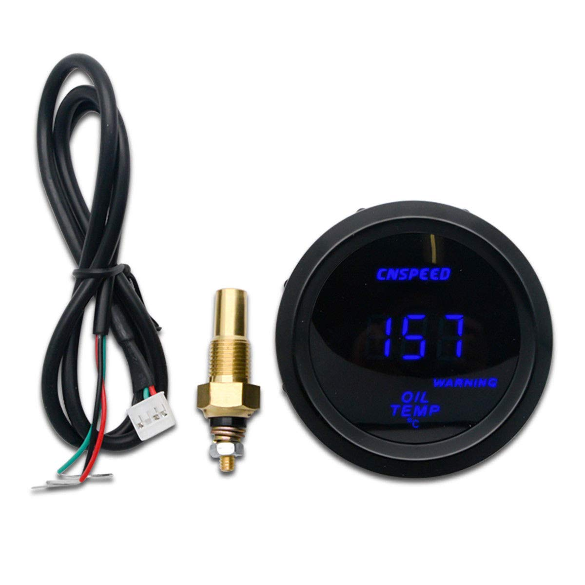 52/ mm//2/ In LCD 40~150/°C Degree MASO Digital Water Temperature Metre Gauge with Sensor for Car//Trunk//Motor Blue LED Display/&Red Warning Lamp