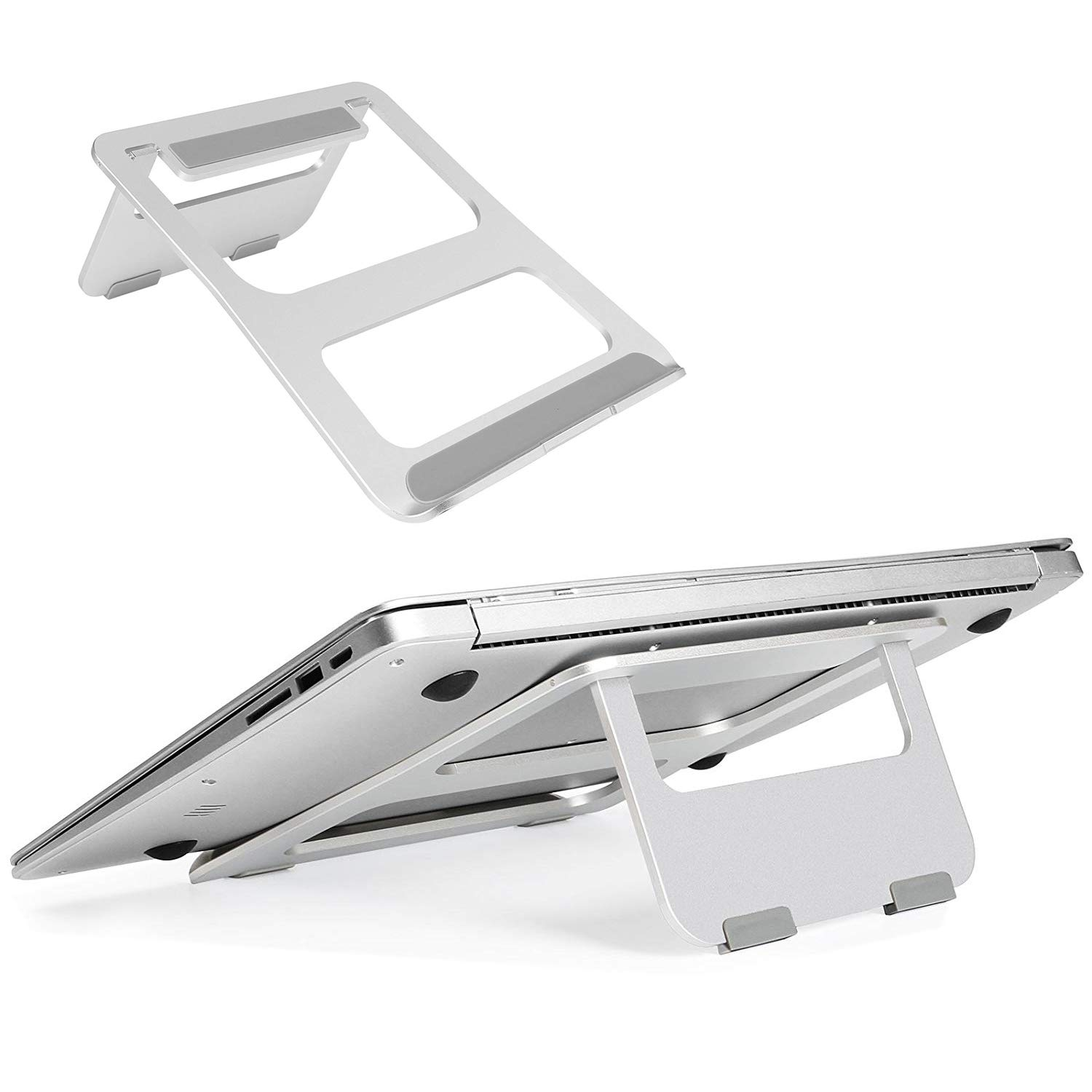 Laptop Stand Portable, CreaDream Adjustable Multi-Angle Aluminum Notebook Computer Stand, Fits MacBook and Laptops up to 17 inches, Silver