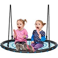 100cm Kids Spider Web Tree Swing, 100-160cm Adjustable Hanging Ropes and Durable Steel Frame, Children Indoor and…
