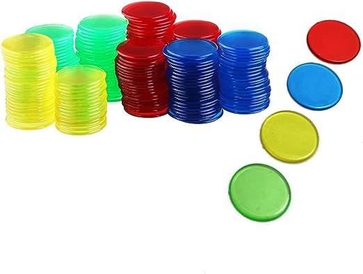 Lvcky 200 marcadores de fichas de Bingo, contadores Transparentes, 4 Colores para Juegos: Amazon.es: Hogar