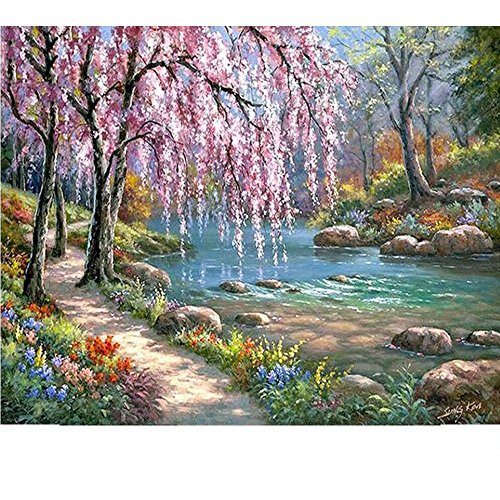 SUBERY DIY Oil Painting Paint with Brushes Acrylics by Number Kits On Canvas by Hand Coloring Arts Crafts - Colourful Rivulet 16x20 inches (Frameless)