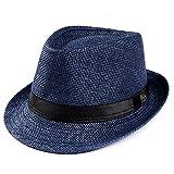 Byyong Unisex Trilby Gangster Cap Beach Sun Straw Hat Band Sunhat
