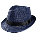 Unisex Trilby Gangster Cap Beach Sun Straw Hat Band Sunhat