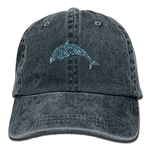 Beach Dolphin Hip Hop New Cowboys Adjustable Cap For Unisex (Gold Dolphin Hat)