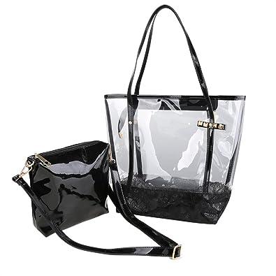 Amazon.com  Zicac Woman Jelly Beach Bag PVC Transparent Tote Shoulder Bag  Handbag Minimali (Black)  Shoes e778b03ed7946