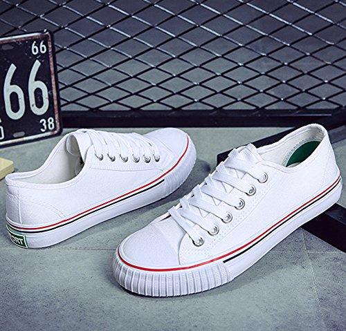wealsex Blanc Chaussure Unisexe Femme Homme Tennis Basse Plate Décontracté Basket Toile Sneakers Classique qn4r1qfw7