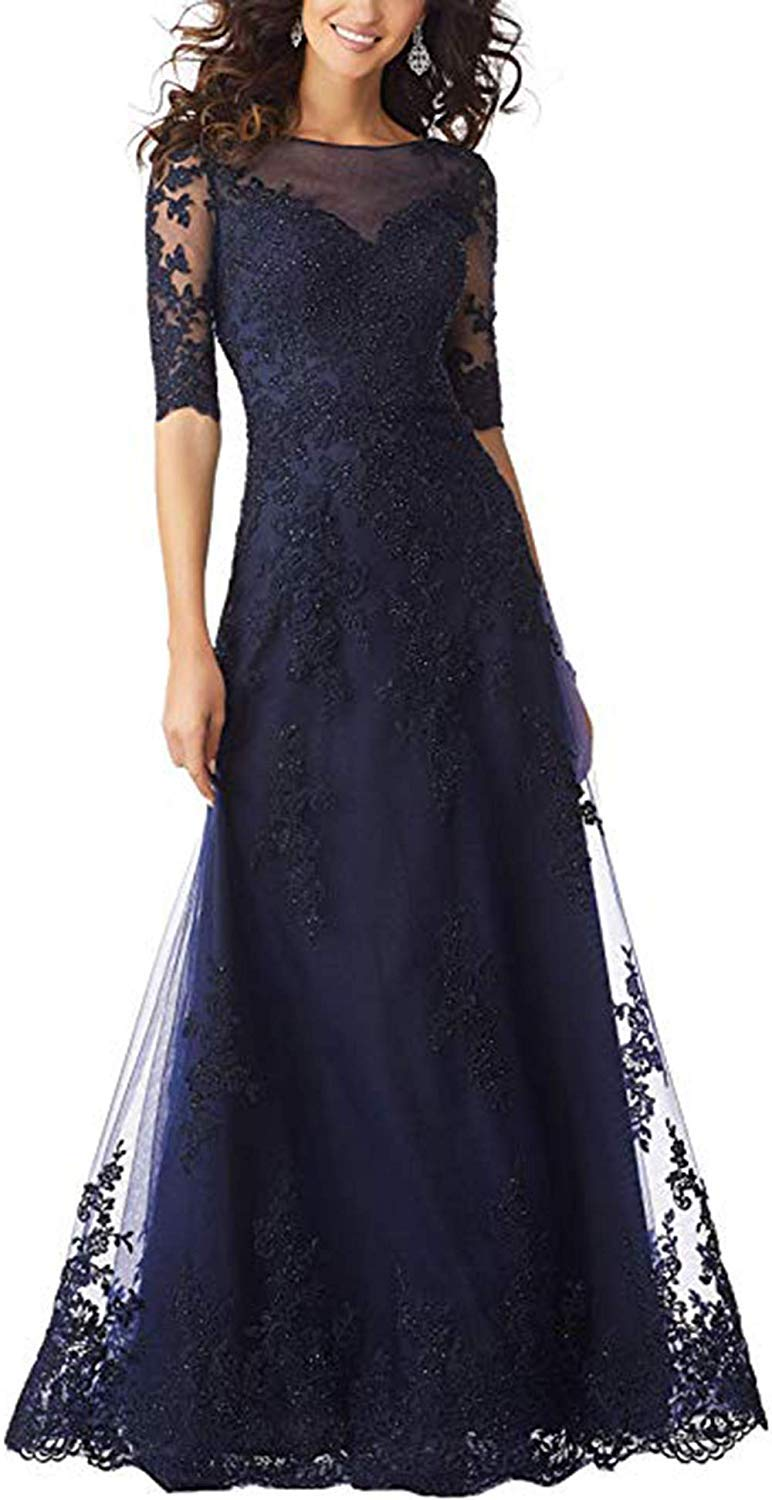 f777ac21d9 tutu.vivi Womens Lace 1/2 Sleeves Mother of The Bride Dresses 2019 Beaded  Long Evening Gown Navy Blue Size16