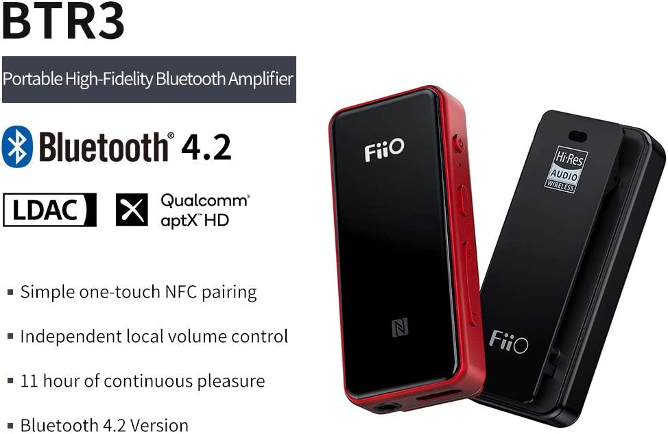 FiiO BTR3(Red Color) HiFi Bluetooth Receiver&USB DAC | aptX/aptX HD/aptX LL/LDAC/AAC/HWA Support, for Home TV,Speaker,Car Stereo, NFC Pairing, Type C Port and 3.5mm Out, AK4376A 192K/24B DAC chip