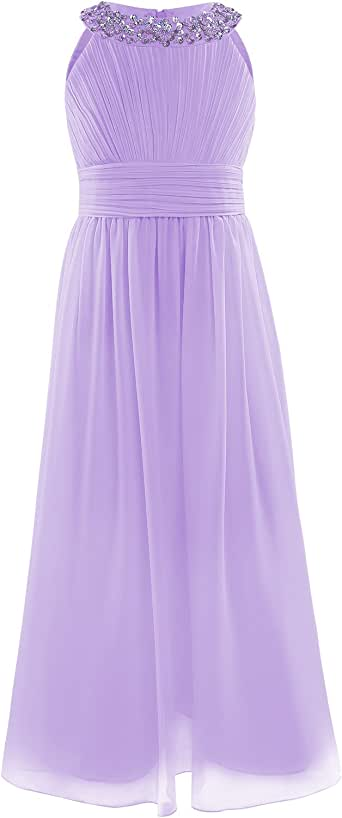 YiZYiF Girls' Chiffon Sleeveless Flower Girl Dress Junior Party Wedding Bridesmaid Long Maxi Dresses