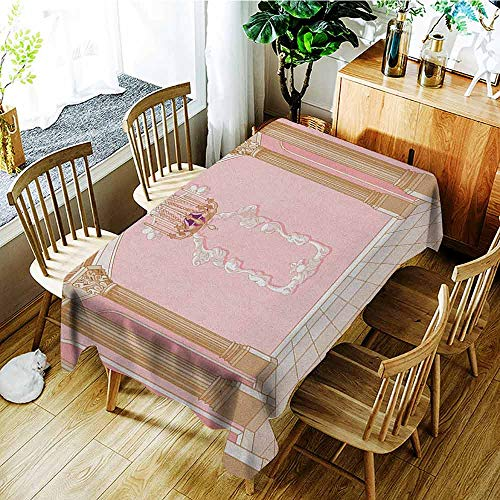 (XXANS Large Rectangular Tablecloth,Princess,Interior of The Ballroom Magic Castle Chandelier Ceiling Columns Kingdom Print,Party Decorations Table Cover Cloth,W60x120L Rose Peach )