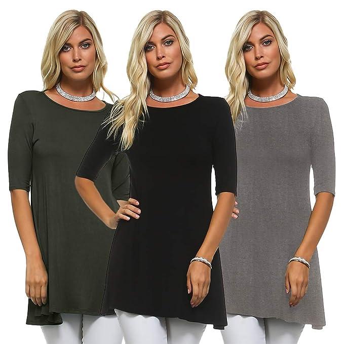 1c9e9feea11de3 Isaac Liev Women's 3/4 Sleeve Tunic Top - Pack of 3 Swing Flowy Long Shirts:  Amazon.ca: Clothing & Accessories