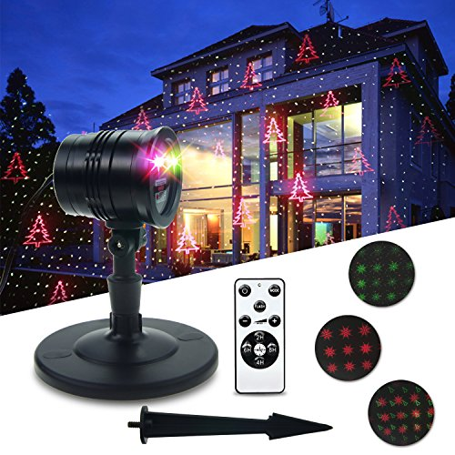 Garden Christmas Laser Lights THZY Christmas Party Light Star Laser Projector 2 Color Motion Red and Green,Moving Star Projector Aluminum Alloy for Halloween Outdoor Party IP65 Waterproof with RF