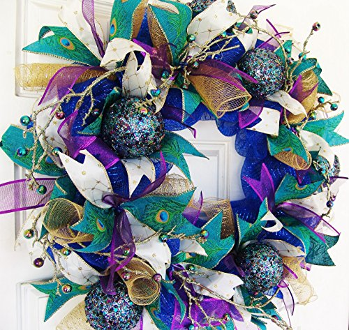 Christmas Jewel Tone Peacock Deco Mesh Front Door Wreath, Welcome Porch Patio Decor, Wall Fireplace Mantel, Unique Gift Idea, Bright Colors