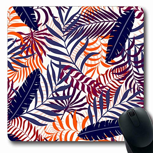 Ahawoso Mousepads for Computers Garden Bali Tropical Palm Leaves Floral Abstract Herbal Pattern Botanical Brazil Brazilian Color Oblong Shape 7.9 x 9.5 Inches Non-Slip Oblong Gaming Mouse Pad