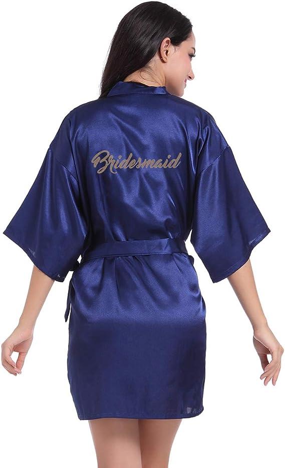 TALLA XL(Bust 38.9-42.8 inch/UK 10-16). Hammia Vestido de Novia de Satén Robe Mujeres Corto Vestido de Dama de Honor Pijama de Seda Corto Puro del Traje del Kimono de Las Mujeres para el Banquete de Boda de la Novia
