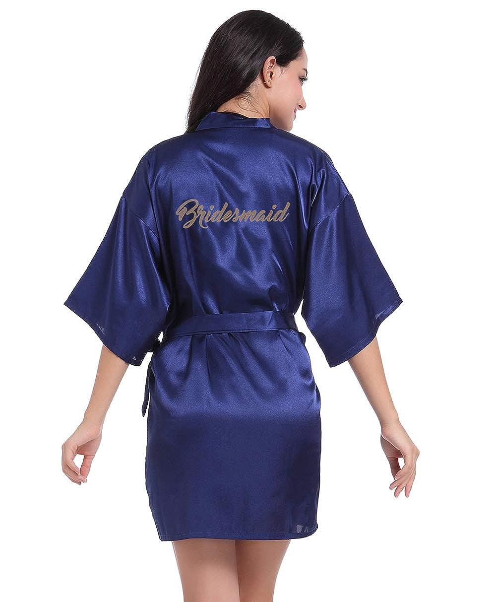 13e2841e06 Hammia Vestido de Novia de Satén Robe Mujeres Corto Vestido de Dama de  Honor Pijama de