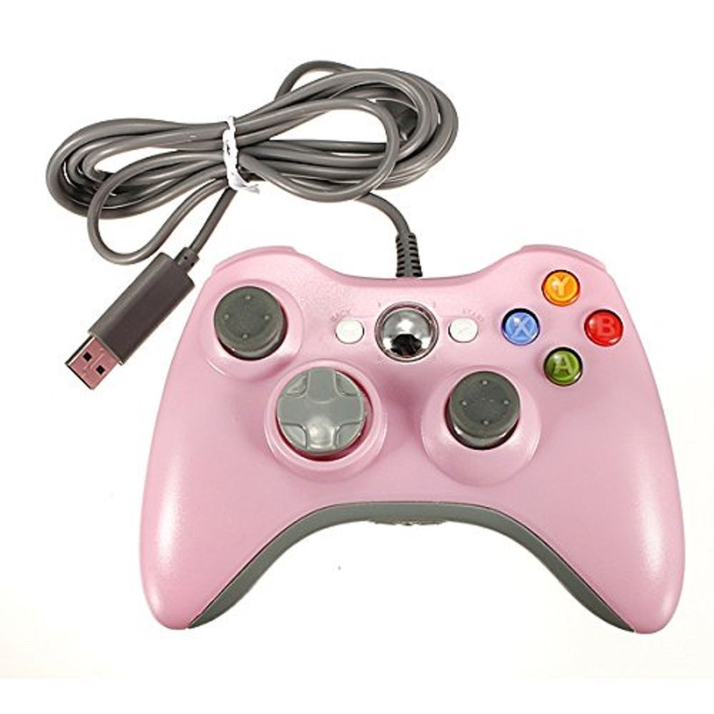 Wired Controller for Xbox 360,Lyyes Xbox 360 Wired Controller USB Xbox Gamepad Joysticks for Windows & Xbox 360 Console (Pink)