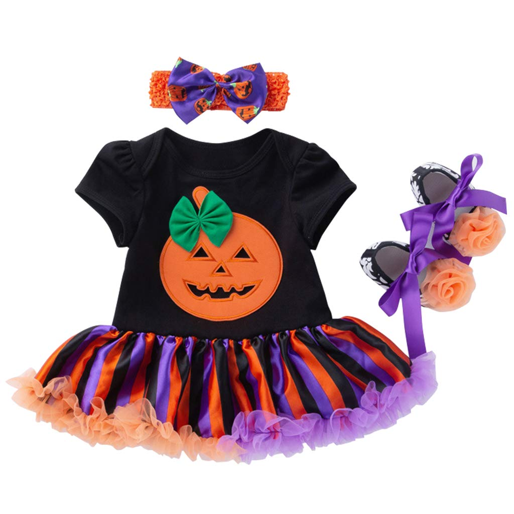 Vine Bambino Costume di Halloween Pagliaccetto Tutu con Fascia Leggings Scarpe 4pcs Zucca Tutina Outfits Vine Trading Co. Ltd C170824HY00401V