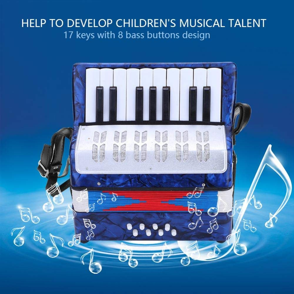 Children Accordion, Mini 17-Key 8 Bass Piano Accordion for Kids Children Amateur Beginner(Blue) by VGEBY (Image #7)