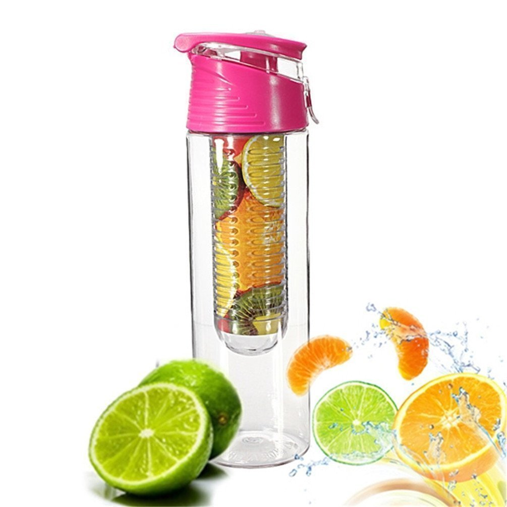 Demarkt 800ml Pink Fruit Infusing Water Bottle with Fruit Infuser and Flip Lid Lemon Juice Make Bottle- BPA Free (800ML)