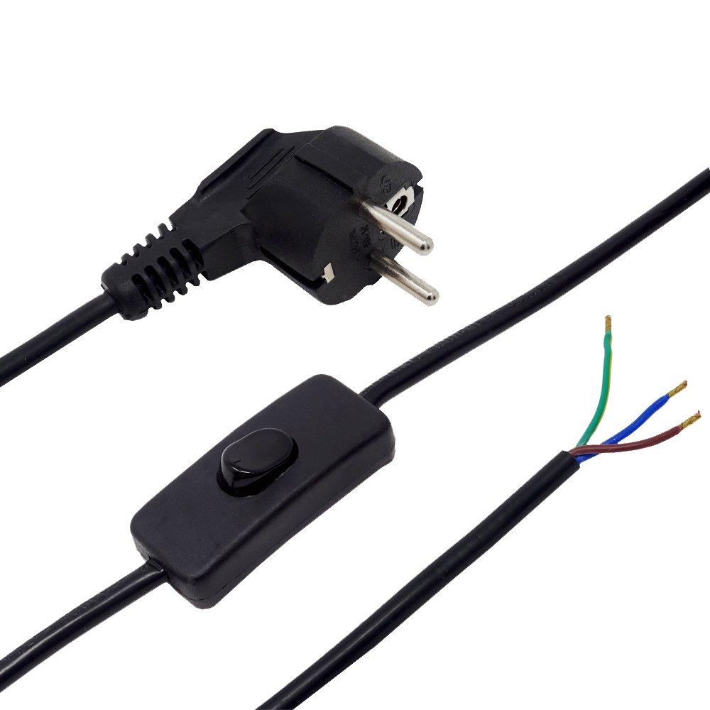 Zuleitung mit Stecker und Schalter 2 Meter Schwarz Anschlusskabel Netzkabel Stromkabel mit Schnurzwischenschalter und Winkelstecker 3x0,75qmm 250V SW L/änge 2000mm