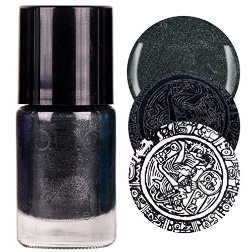 Maniology (formerly bmc) 1pc Grimm's Nightfall: Mirror, Mirror - Black Metallic, Shimmery, Duochrome Halloween Fall Fashion Highly-Pigmented Creative Nail Art Stamping Polish Full -