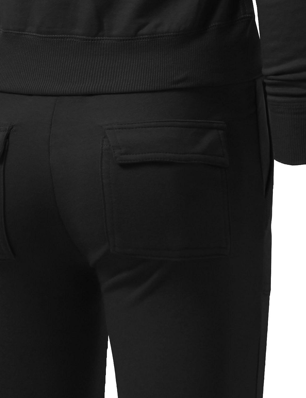 NE PEOPLE 2-Set Womens Casual Basic Terry Zip Up Hoodie Sweatsuit Tracksuit Set