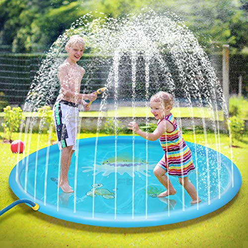 Ayeboovi Splash Pad Sprinkler Pad 67'' Kids Water Play Center Fun for Toddlers Boys Girls Summer Outdoor Water Pad Toy