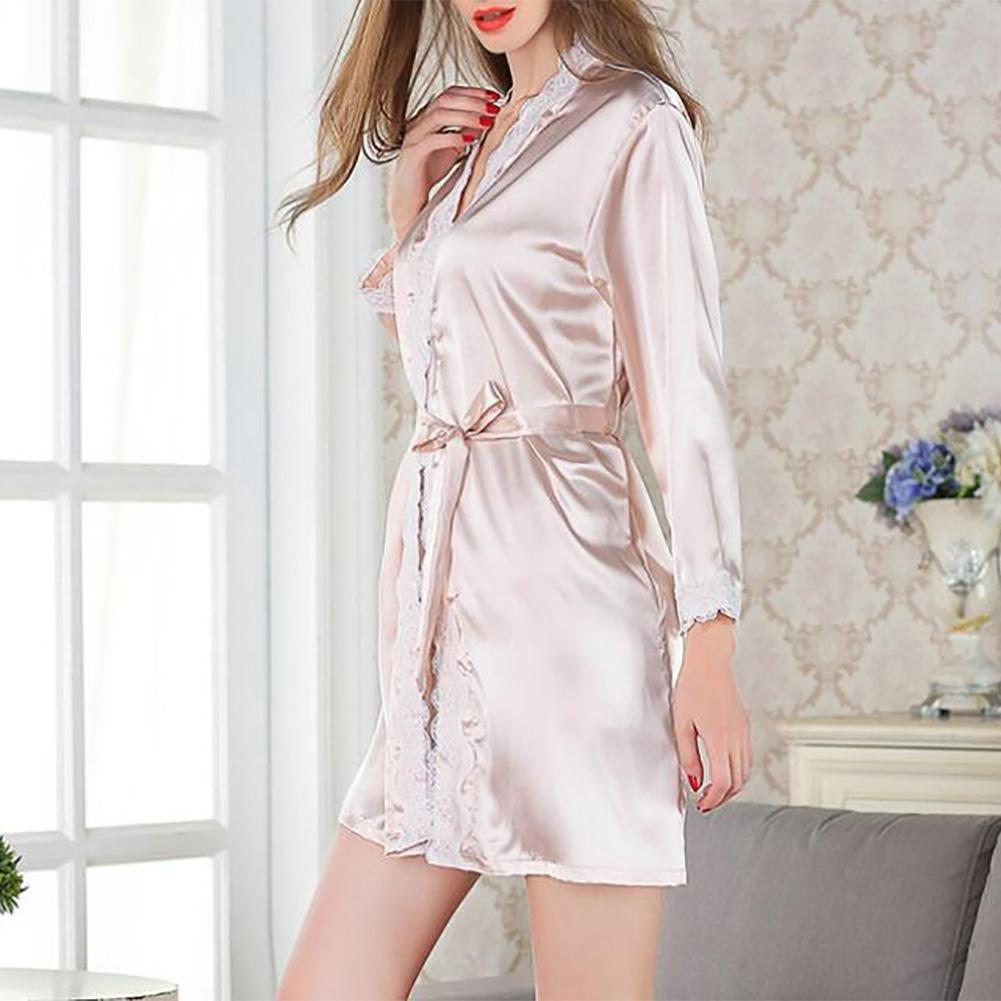HXQ Accappatoi donna pigiami di seta abiti da sposa Notte corto accappatoio Perfetto Robes abito estivo Robe e Kimono accappatoio , pink MAOJIN