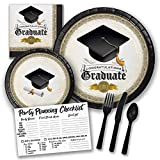 Black and Gold Graduate Cap and Gown Grad Themed Party Supply Pack Bundle - Serves 8 Guests, Graduation Party Supplies 2018