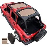 Shadeidea Sun Shade for Jeep Wrangler JL Unlimited (2018-Current) 4 Door Front and Rear 2 piece-Tan Mesh Screen Sunshade…