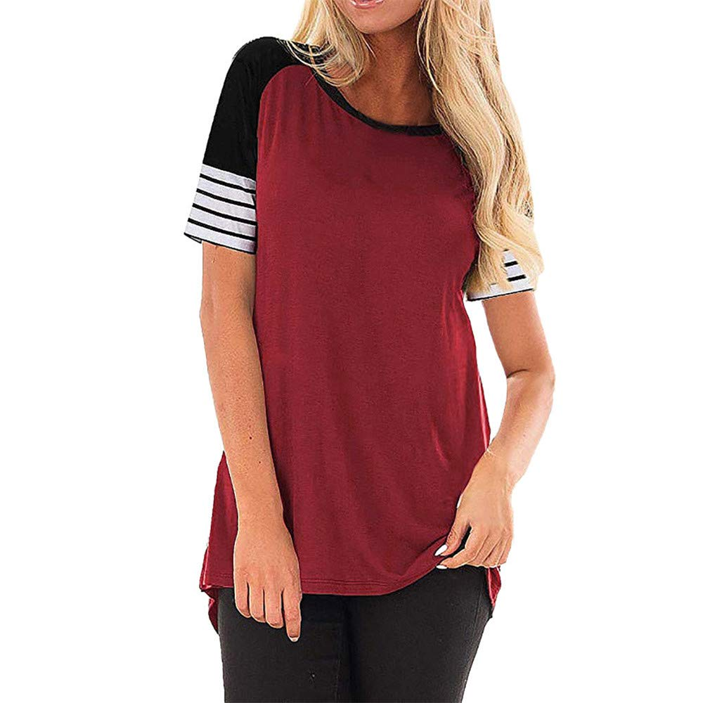 Vickyleb Blouse for Women Casual O-Neck Shirts Short-Sleeve T-Shirt Striped Patchwork Tops Ladies Summer Blouses Red
