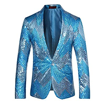 Cheap Cloudstyle Mens Blazer Sequin Dance Peaked Lapel One Button Tuxedo Dress Jacket Prom Party