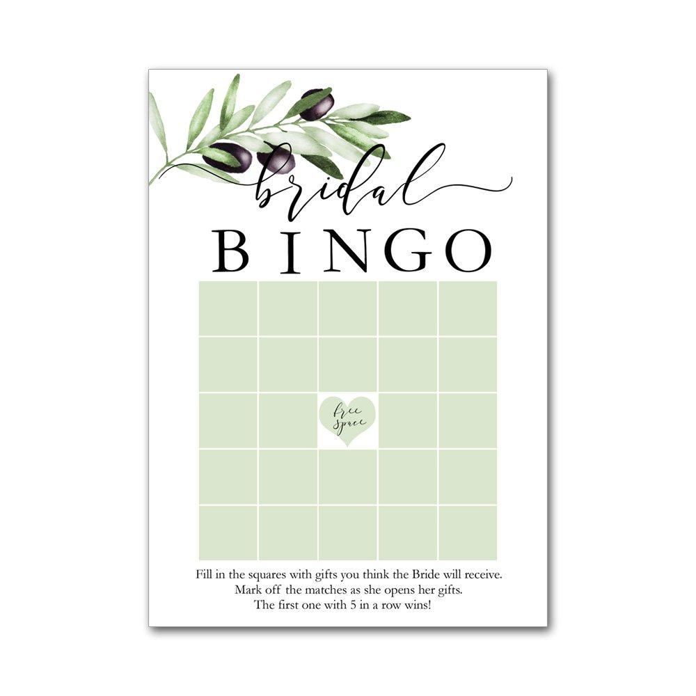 Bingo Game Cards for Bridal Wedding Showers with Watercolor Black Olives Leaf Branch BBG8005