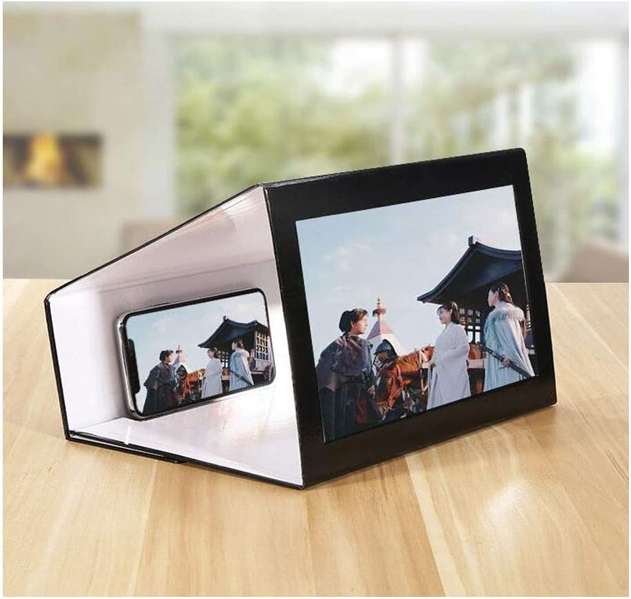 Wood Color,Ultra-Thin Portable Black Kaiyitong Mobile Phone Screen Amplifier 12-inch Mobile Phone Rack Magnifying Glass Viewing Artifact Desktop Lazy Bracket Universal White