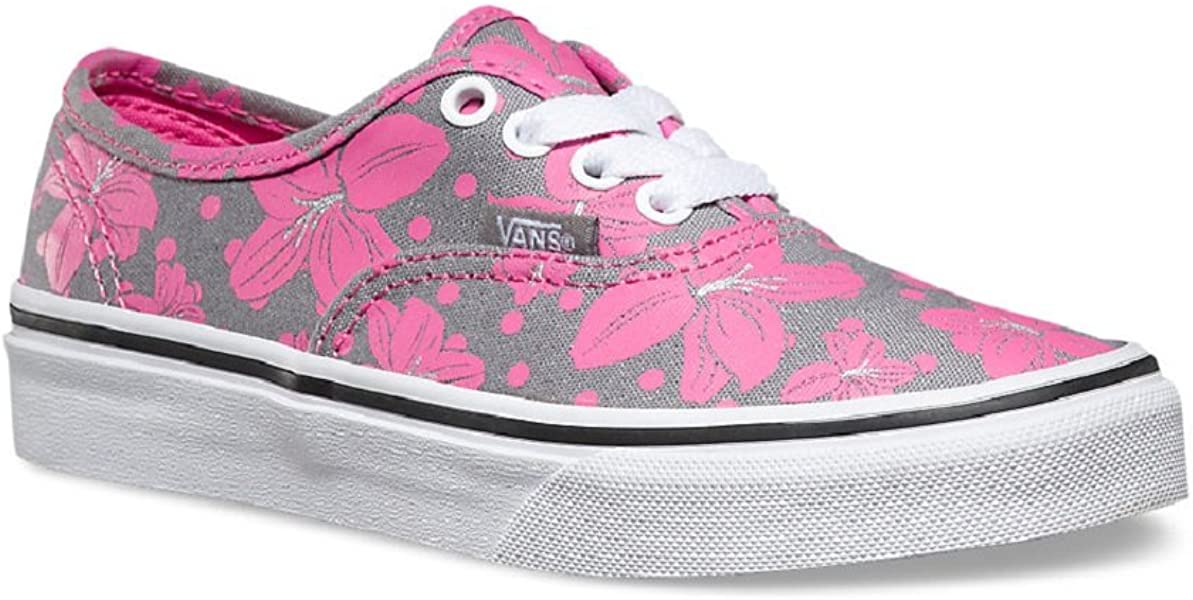 121b6c9f66 Girl s Authentic (Floral Polka) Frost Grey Azalea Pink Skateboarding Shoes.  Back. Double-tap to zoom