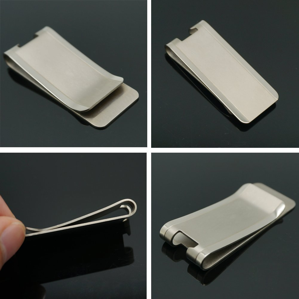 TI-EDC Titanium Slim Cash Money Clip Wallet Credit Card Holder and Bottle Opener