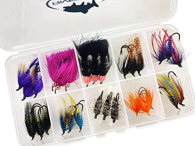 Steelhead nymph and egg assortment 54 flies with box