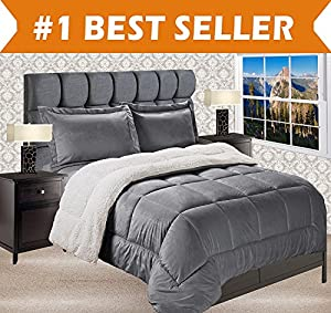 Elegant Comfort Premium Quality Heavy Weight Micromink Sherpa-Backing Reversible Down Alternative Micro-Suede 3-Piece Comforter Set, King, Solid Grey