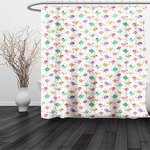 Lulu Sheer Panel (HAIXIA Shower Curtain Baby Cute Birds Various Colors Facial Expressions Funny Animal Caricature Characters Multicolor)