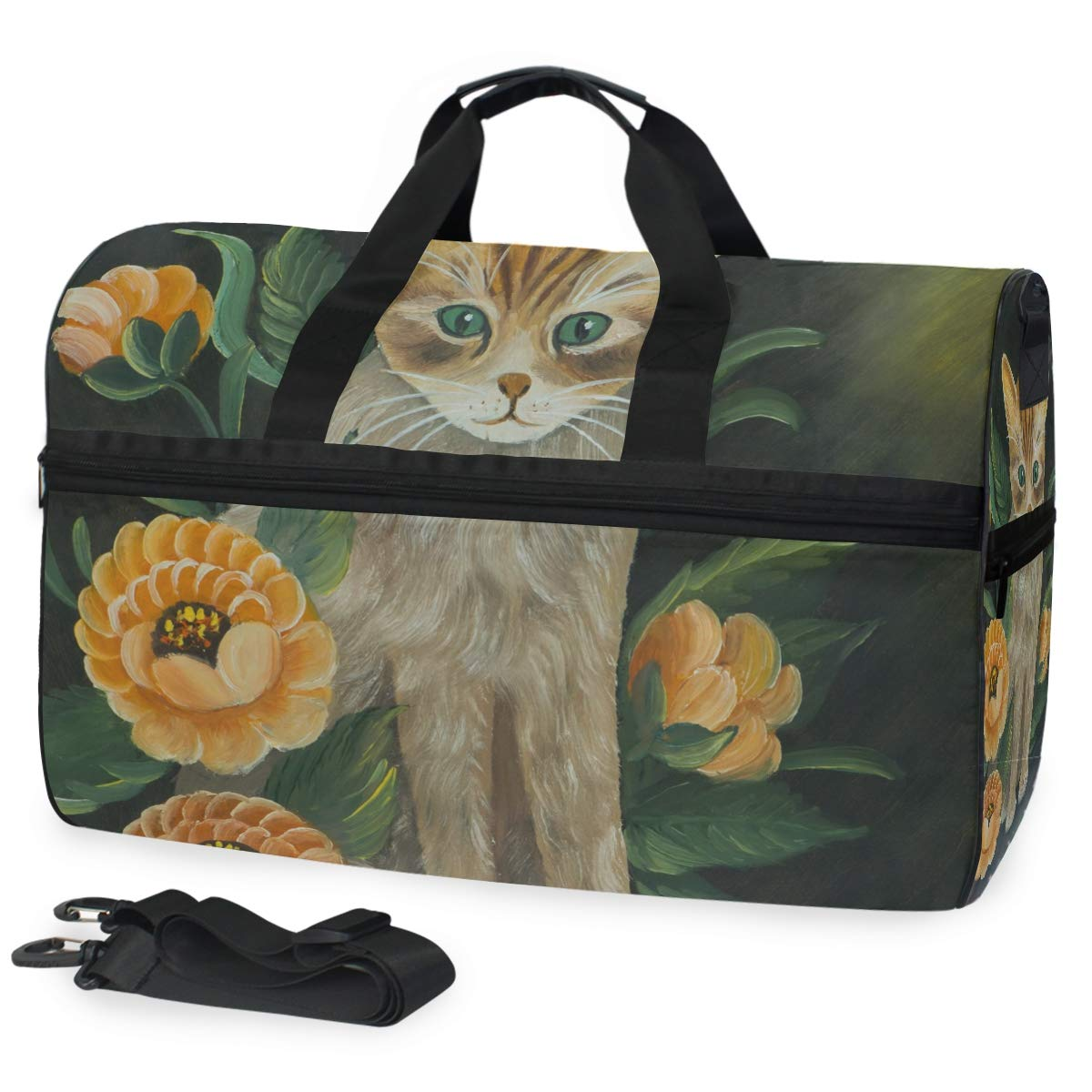 Travel Duffel Bag Vintage Cat With Orange Flowers Waterproof Lightweight Luggage bag for Sports Vacation Gym