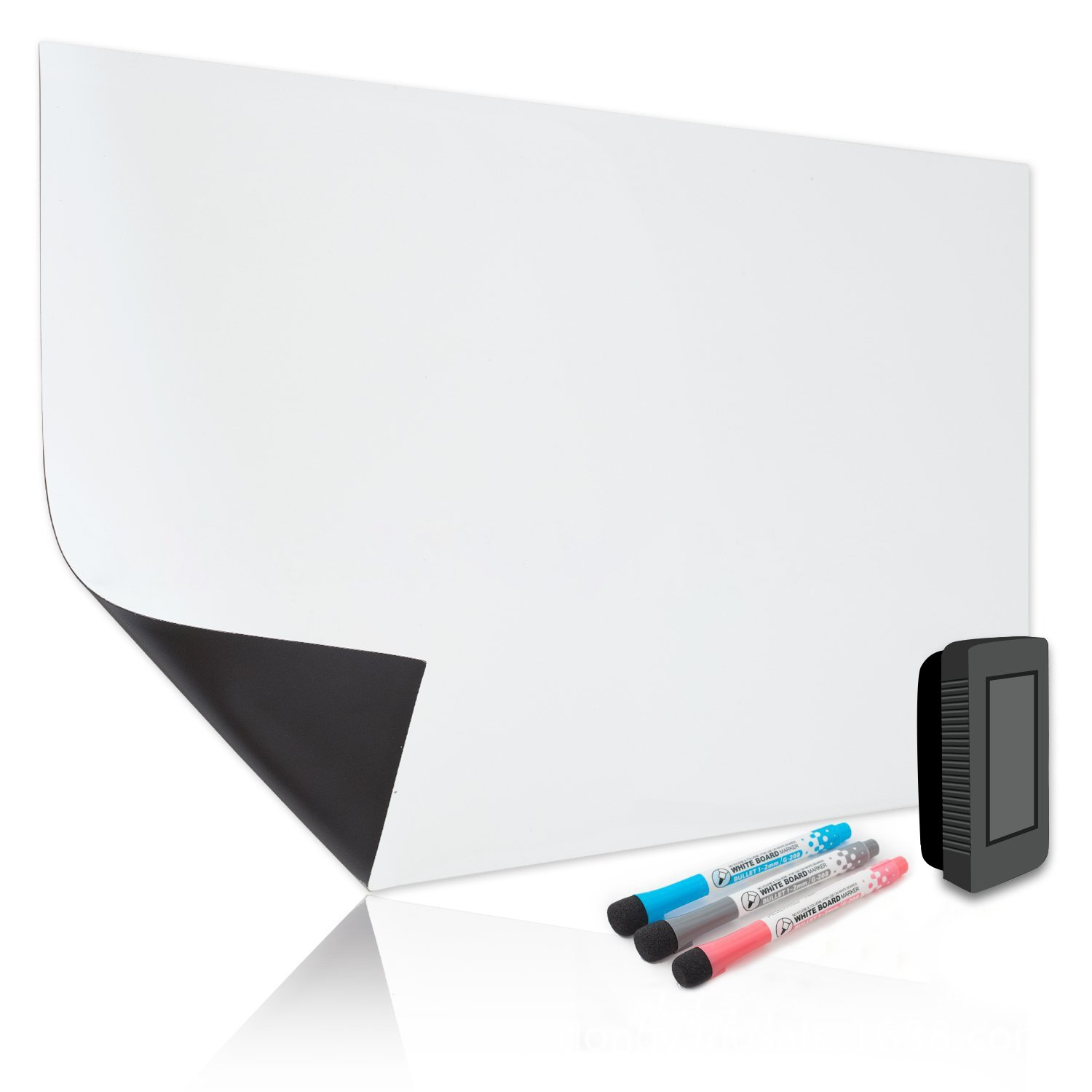 Bonim Magnetic Dry Erase Board for Refrigerator 17X11 inches- White Board Organizer Stain Resistant Technology Multi Purpose Planner- Includes 3 Markers and Big Eraser with Magnets